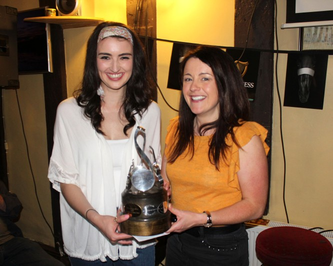 Sarah Power presents Eoghan Power Singing Competition Trophy to Maria O'Shea Enright 2017 winner - by Aaron Eade press
