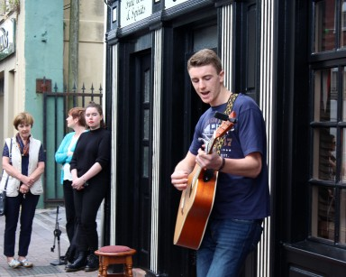 Declan Duggan - best solo act at Youth busking - by Aaron Eade press