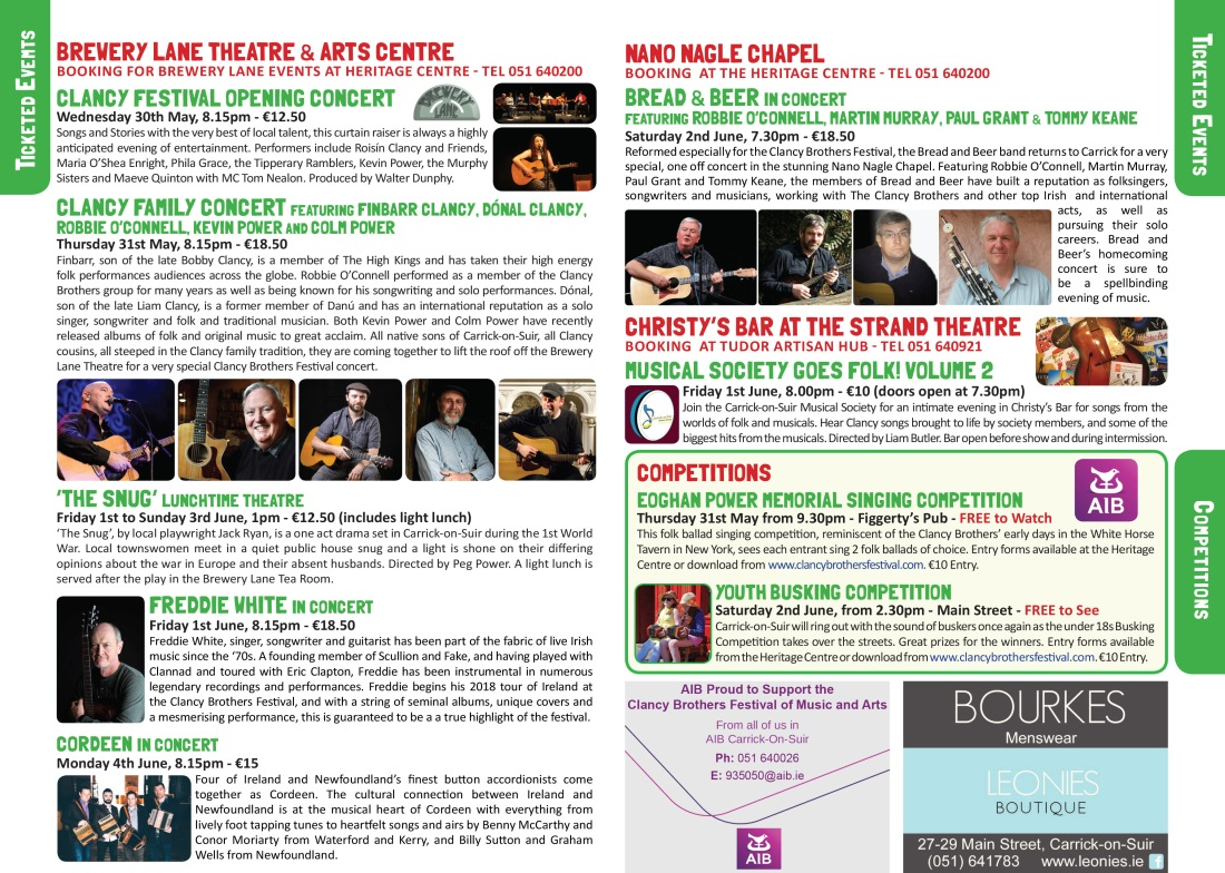 Clancy Brothers Festival Brochure 4 & 5