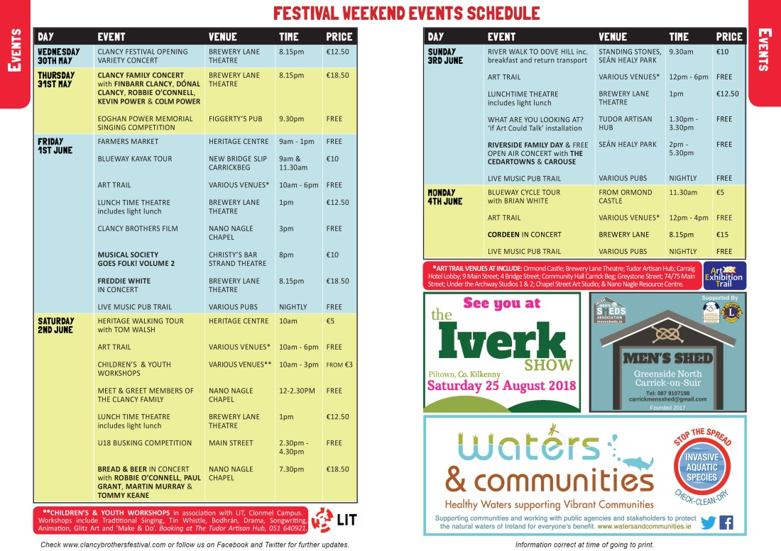 Clancy Brothers Festival Brochure 8 & 9